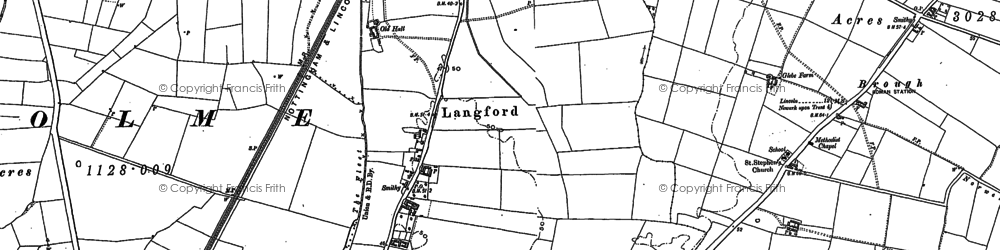 Old map of Langford Hall in 1884