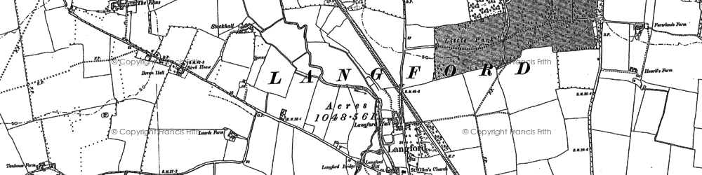 Old map of Langford in 1895