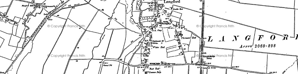 Old map of Langford in 1900