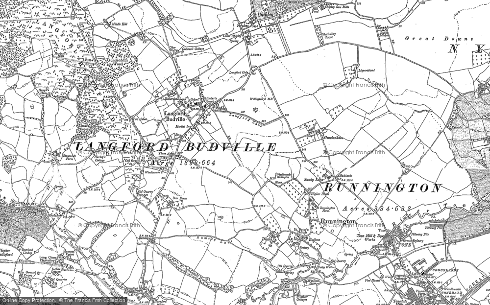 Old Map of Historic Map covering Langford Heathfield in 1887