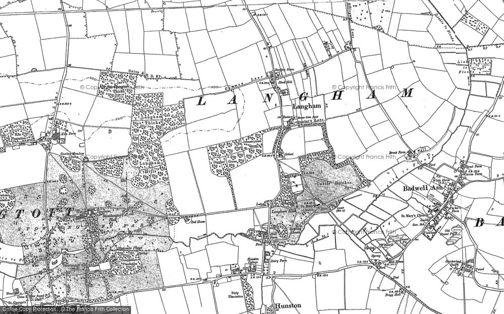 Old Map of Langham, 1883 - 1884 in 1883
