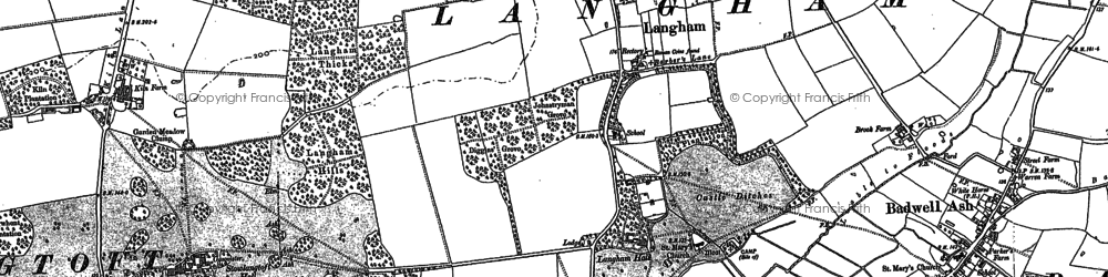 Old map of Langham in 1883