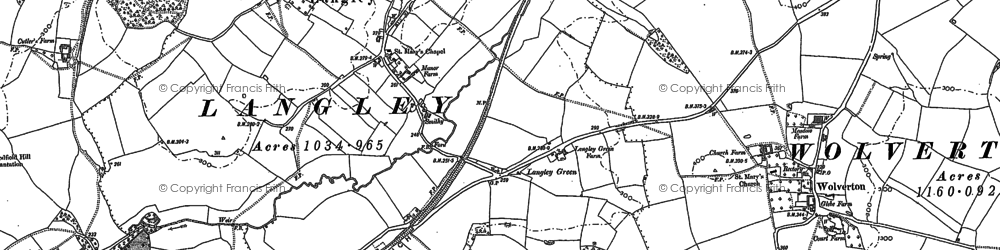 Old map of Langley Green in 1885