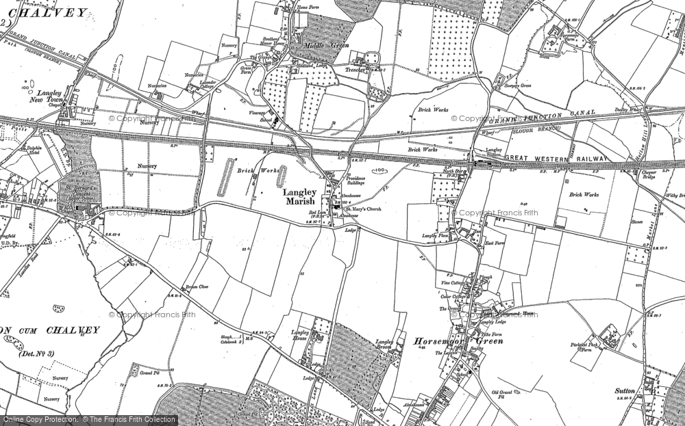 Old Map of Langley, 1923 in 1923