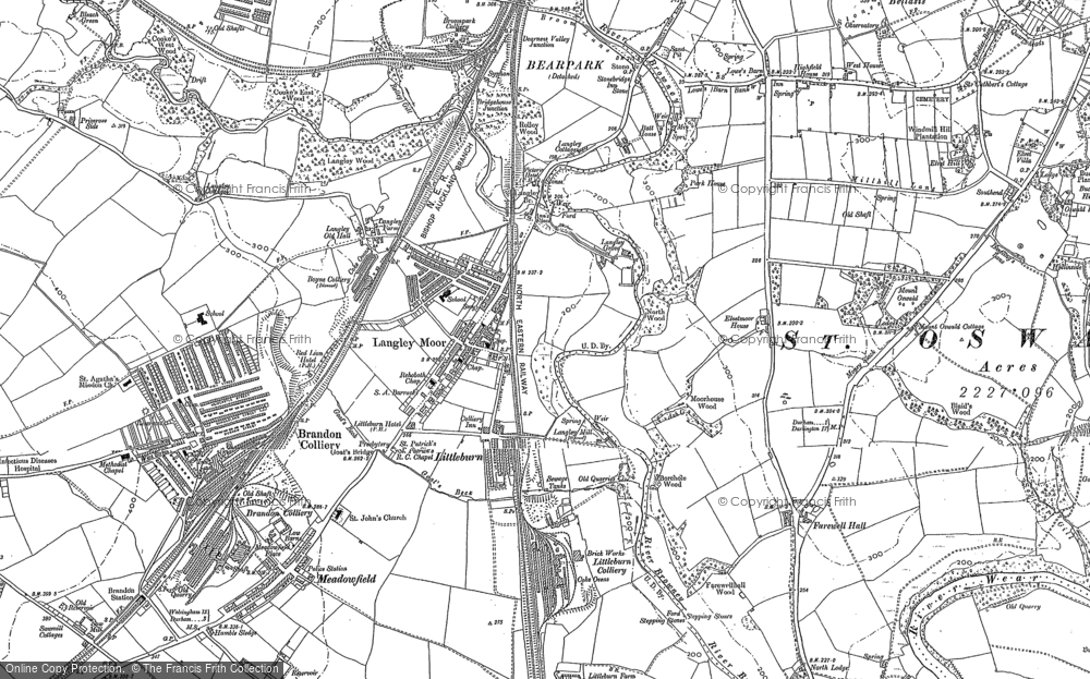 Old Map of Langley Moor, 1895 in 1895