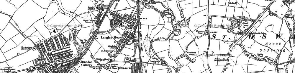 Old map of Langley Moor in 1895