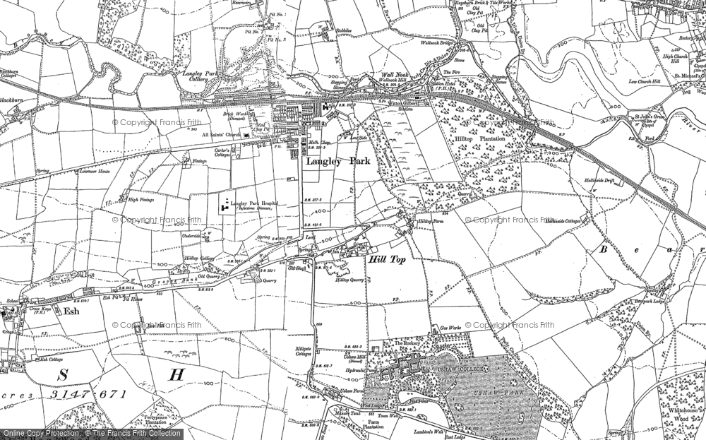 Old Map of Historic Map covering Langley in 1895