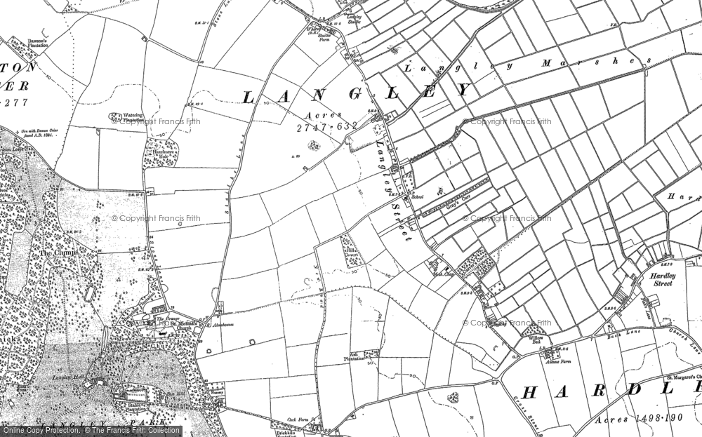 Old Map of Langley Street, 1881 - 1884 in 1881