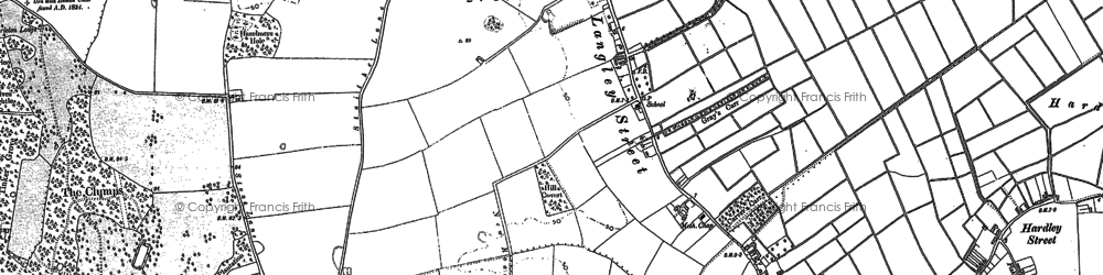 Old map of Langley Street in 1881