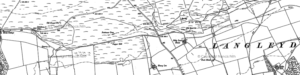 Old map of Langley Beck in 1896
