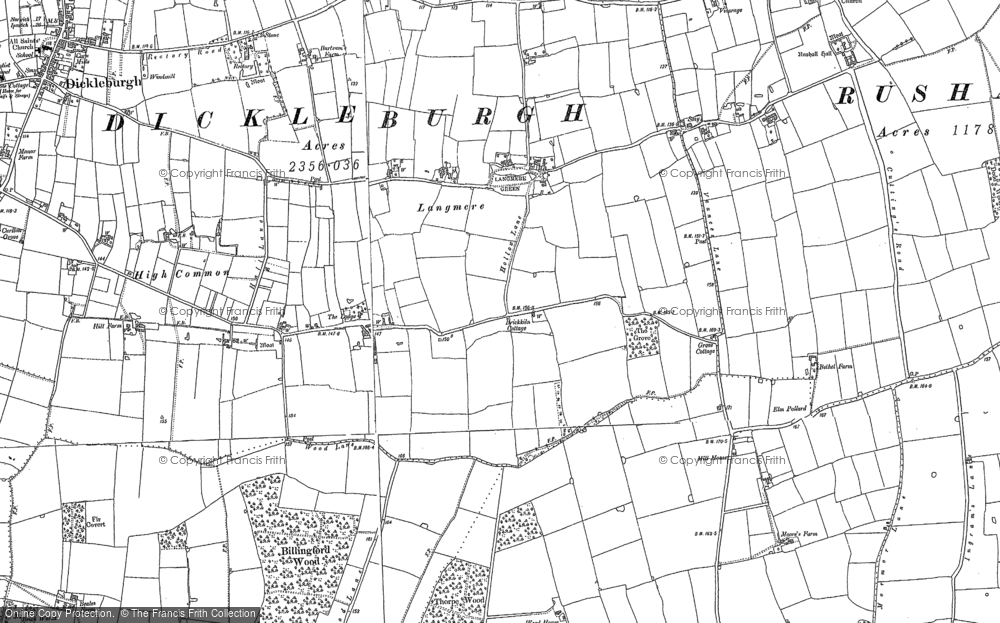 Old Map of Langmere, 1883 - 1904 in 1883