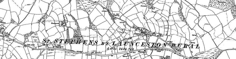 Old map of Langore in 1882