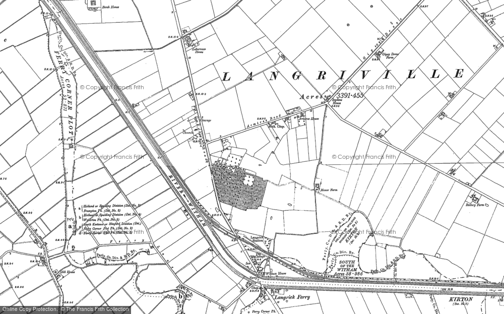 Old Map of Langrick, 1887 - 1888 in 1887