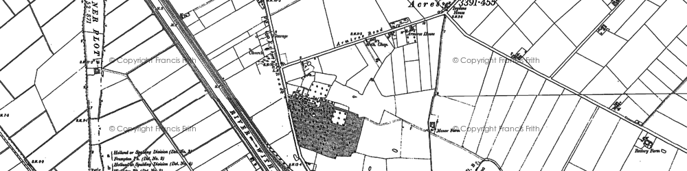 Old map of Langrick Grange in 1887
