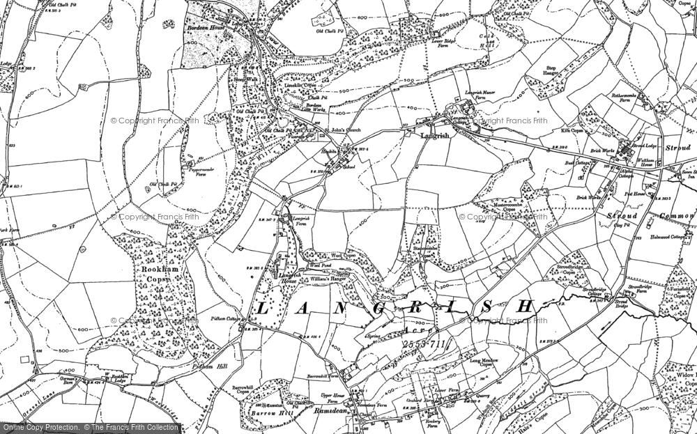 Map of Langrish, 1895 - 1908