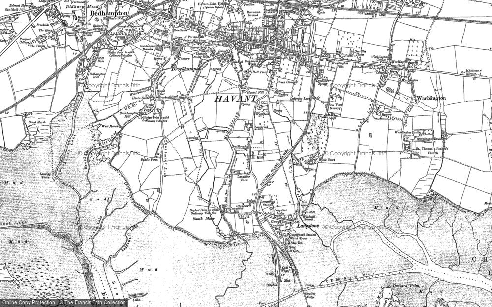 Old Map of Historic Map covering Langstone Bridge in 1907