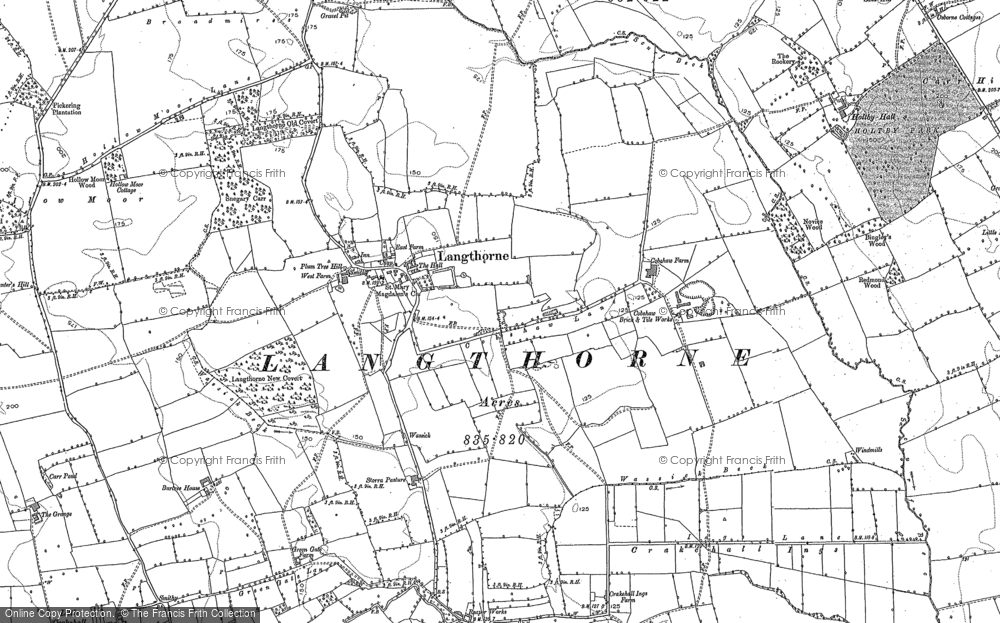 Old Map of Langthorne, 1891 in 1891