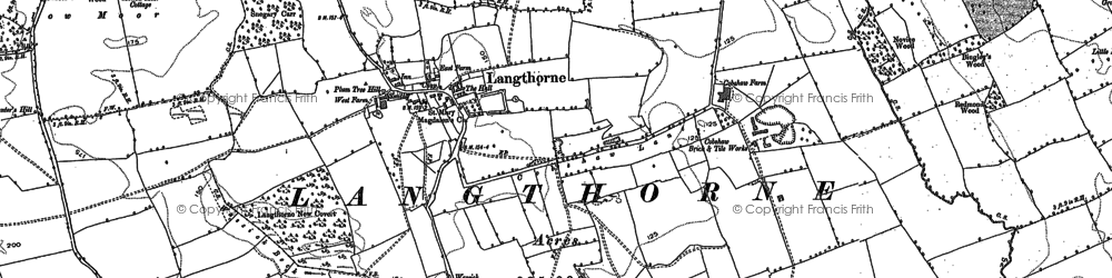 Old map of Langthorne in 1891