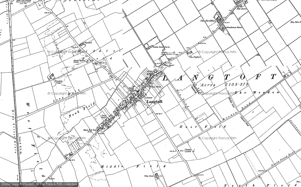 Old Map of Langtoft, 1886 - 1887 in 1886