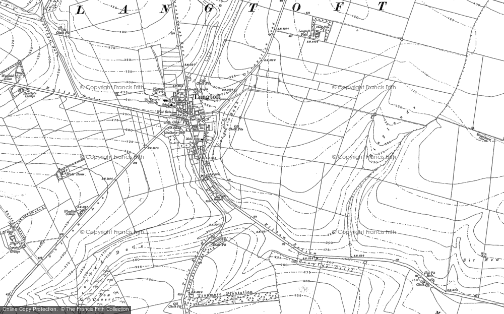 Old Map of Langtoft, 1888 in 1888