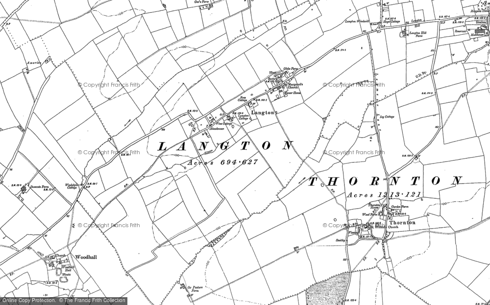 Old Map of Langton, 1887 in 1887