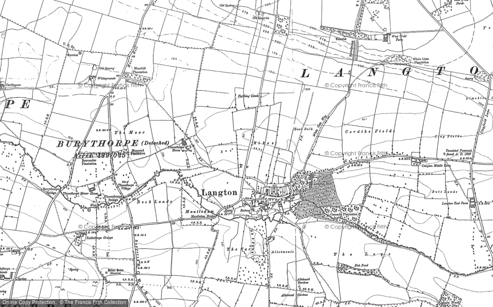 Old Map of Historic Map covering Langton Wold in 1888