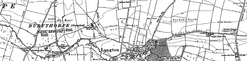 Old map of Langton Wold in 1888