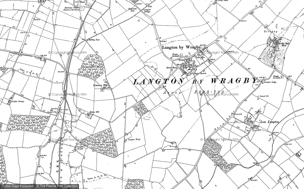 Old Map of Langton by Wragby, 1886 in 1886