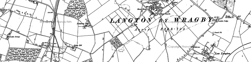 Old map of Langton by Wragby in 1886