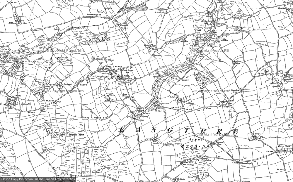 Old Map of Historic Map covering Langtree Week in 1884