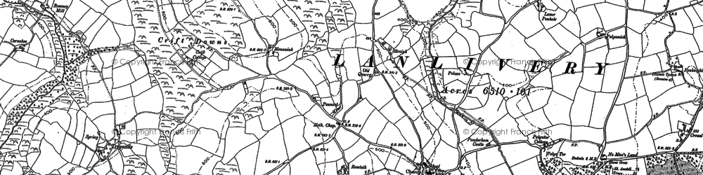 Old map of Lanlivery in 1881