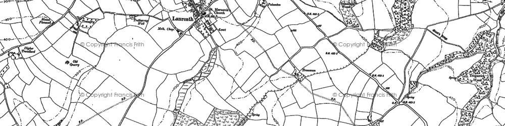 Old map of Bocaddon in 1881