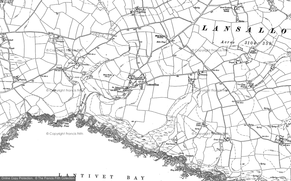 Old Map of Historic Map covering Lantivet Bay in 1905