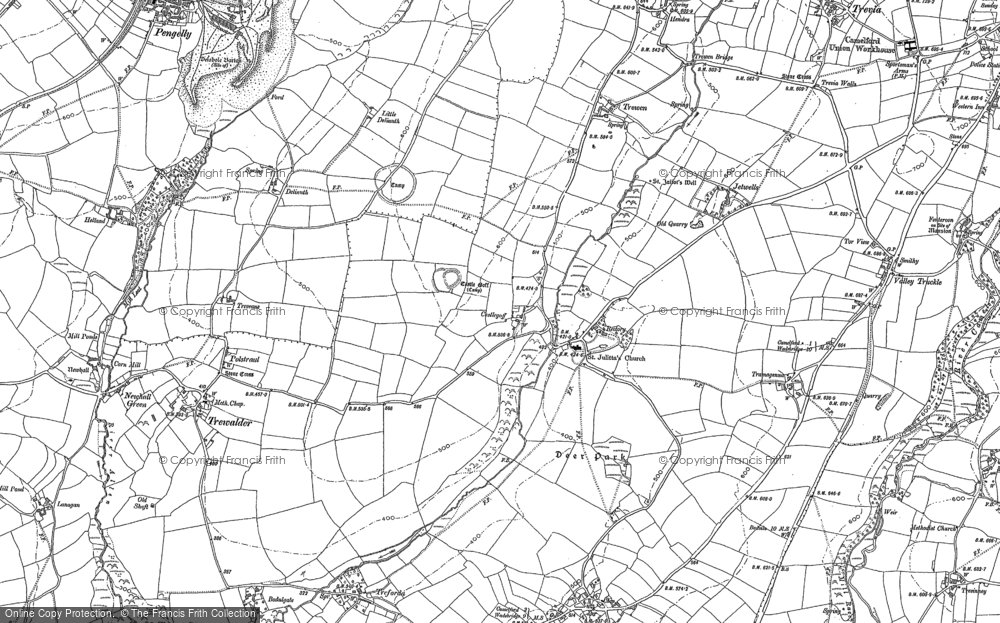 Old Map of Lanteglos, 1880 - 1905 in 1880