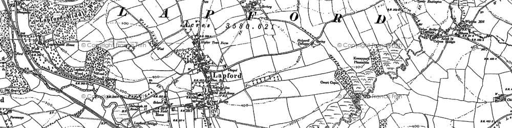 Old map of Lapford Cross in 1886