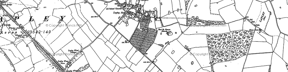 Old map of Whiston Brook in 1882