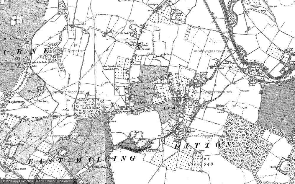 Old Map of Larkfield, 1895 in 1895
