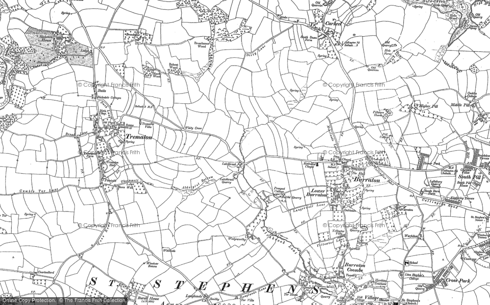 Old Map of Latchbrook, 1888 - 1905 in 1888