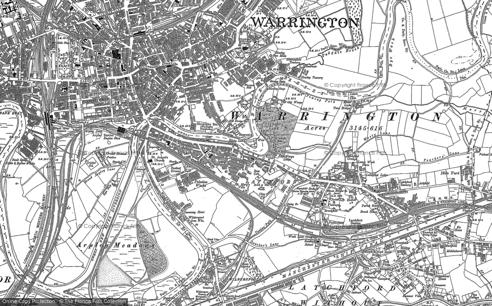 Old Map of Latchford, 1905 - 1908 in 1905