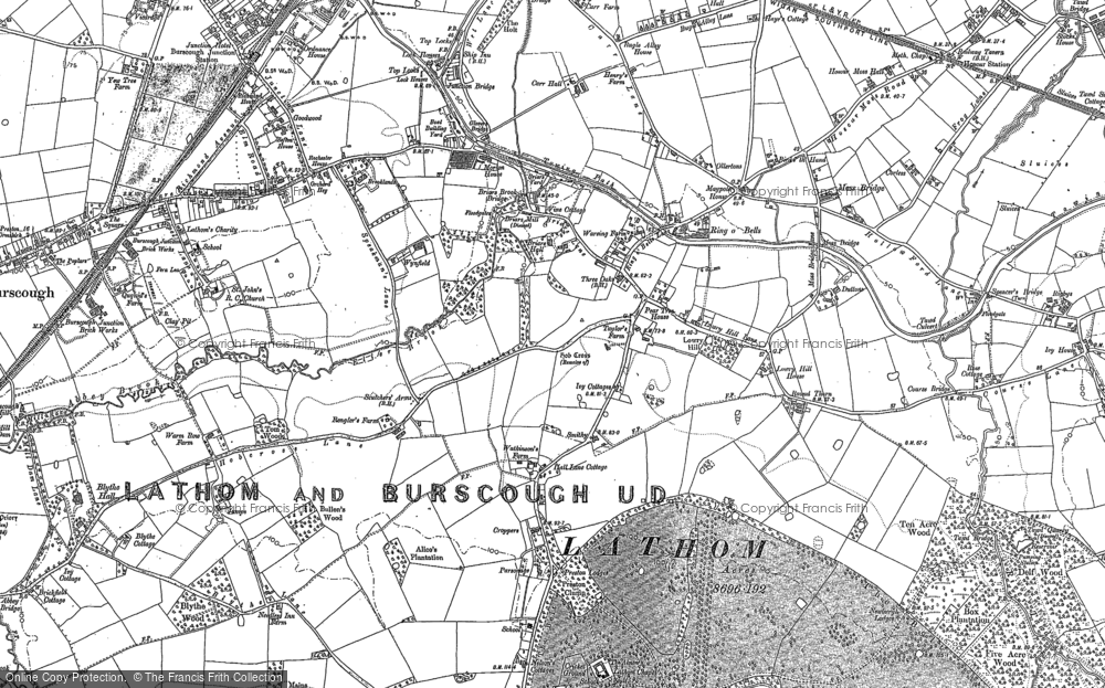 Old Map of Historic Map covering Lathom Ho in 1891