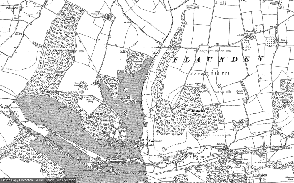Old Map of Historic Map covering Baldwin's Wood in 1923