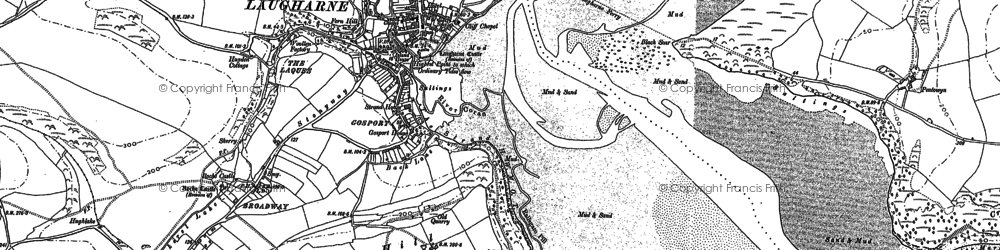 Old map of Laugharne in 1887