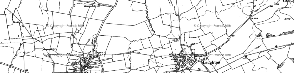 Old map of Laughton in 1885