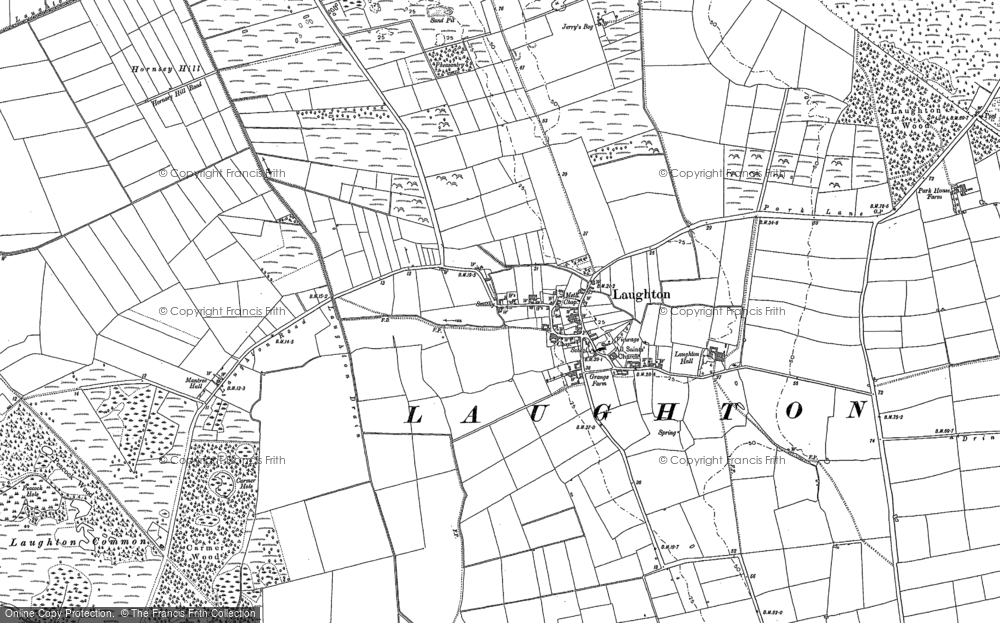 Old Map of Laughton, 1885 in 1885