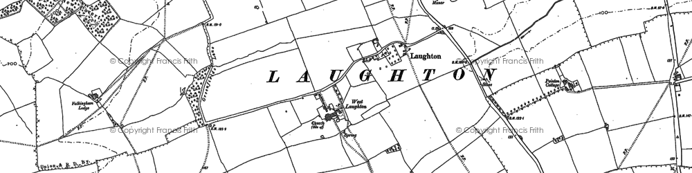 Old map of Laughton in 1886