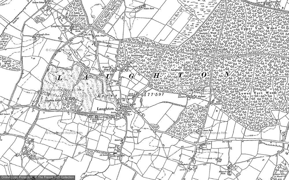 Old Map of Historic Map covering Laughton Place in 1898