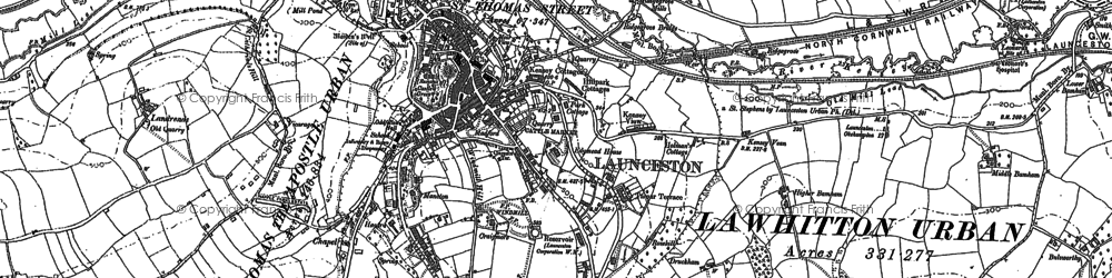 Old map of Launceston in 1882