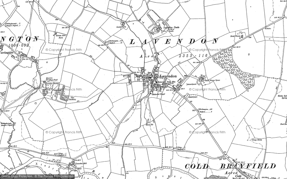 Old Map of Lavendon, 1899 - 1950 in 1899