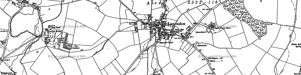 Old map of Lavendon in 1899