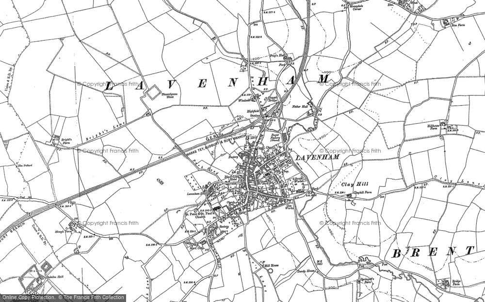 Old Map of Historic Map covering Lavenham Lodge in 1884